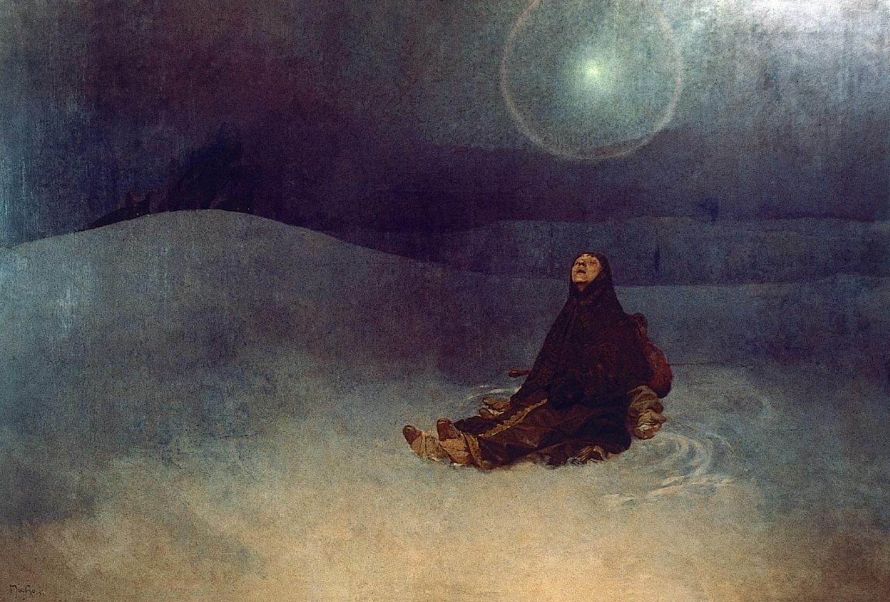 〈西伯利亞的冬夜〉──或稱〈星〉,丘上有野狼的影子,而婦人只是靜坐在荒地上, 這幅圖象徵斯拉夫人對即將來臨命運(被狼吃掉?)的放棄抗爭和接受。 在網路上看圖跟直接面對原畫的感受差好多。